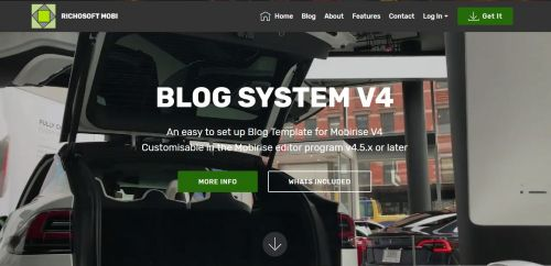 Mobirise V4 Blog PLUS System Template for v4.5.x or later from RichoSoft Squared