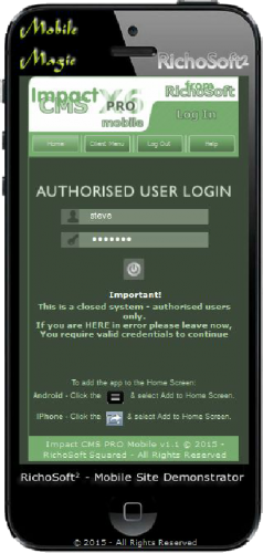 Impact CMS PRO X6 Mobile APP (For Serif WebPlus X6)