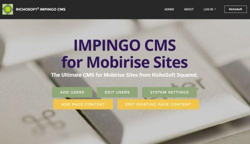 Mobirise PRO Impingo CMS System
