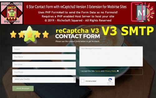 SMTP Mobirise 6 Star reCaptcha3 Contact Form Extension