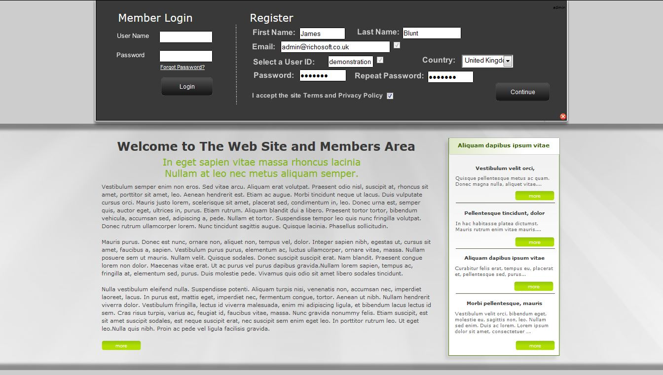 Web Site +Subs Members Area X8 (For Serif WebPlus X8) - RichoSoft ...