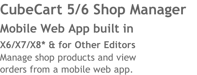 CubeCart 5/6 Shop Manager 